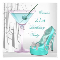 21st Birthday Party White Teal Martini Pearl Shoe Card