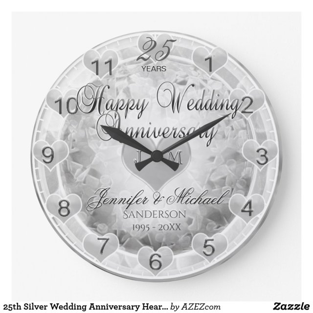 25th Silver Wedding Anniversary Hearts Clock