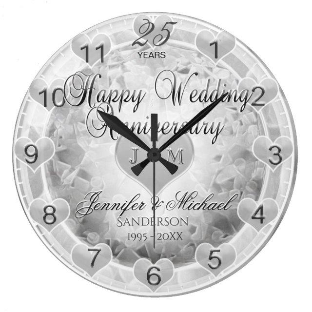 25th Silver Wedding Anniversary Hearts Clock
