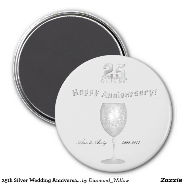 25th Silver Wedding Anniversary Magnet