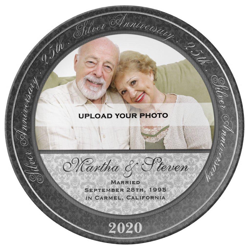 25th Silver Wedding Anniversary Photo Plate