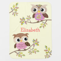 2 Cute Owls on Colorful Branches Baby Blanket