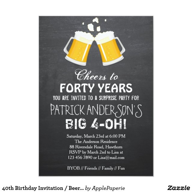 40th Birthday Invitation / Beer 40th Birthday