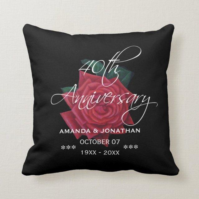 40th Ruby Wedding Anniversary Cushion
