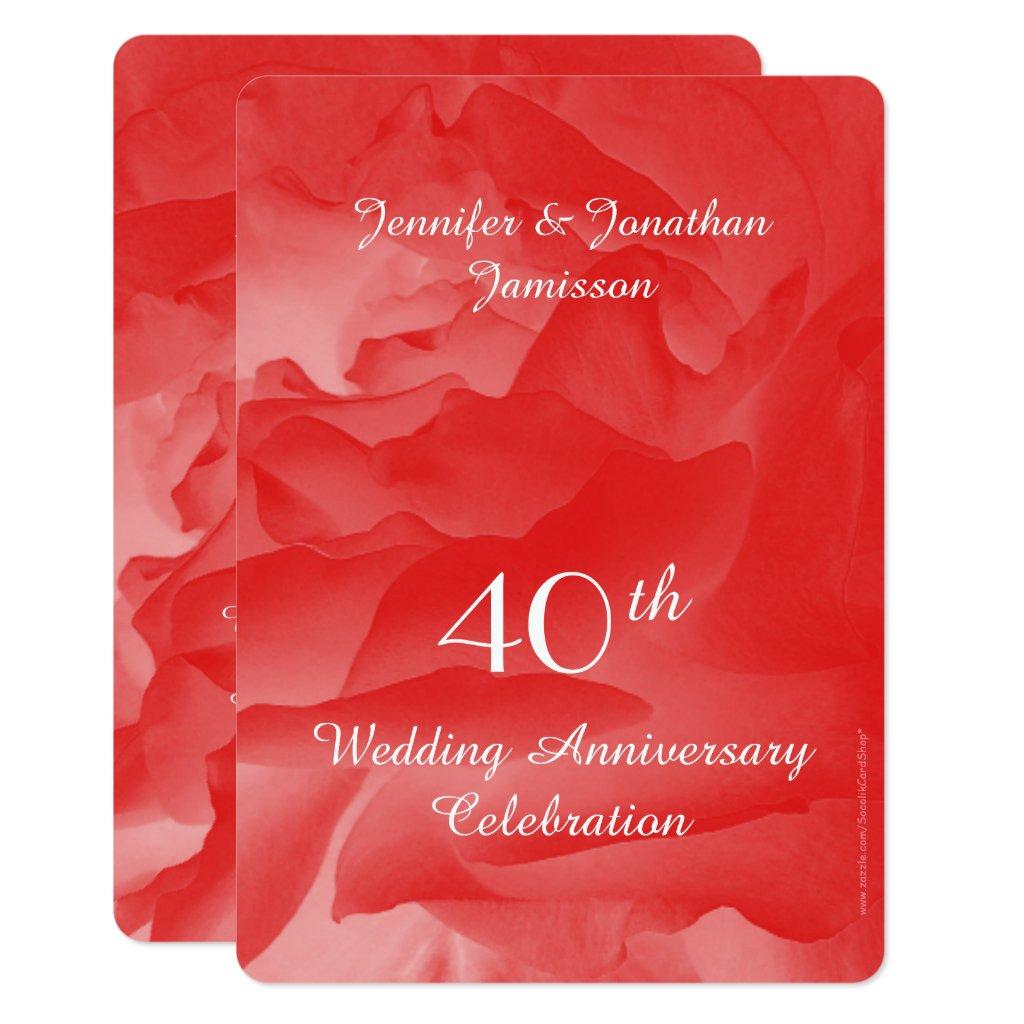 40th Wedding Anniversary Party Invitation, Rose Invitation