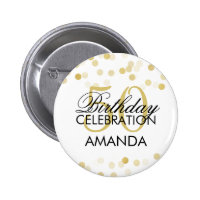 50th Birthday Faux Gold Foil Glitter Lights 2 Inch Round Button