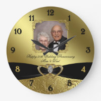 50th Wedding Anniversary Photo Wall Clock