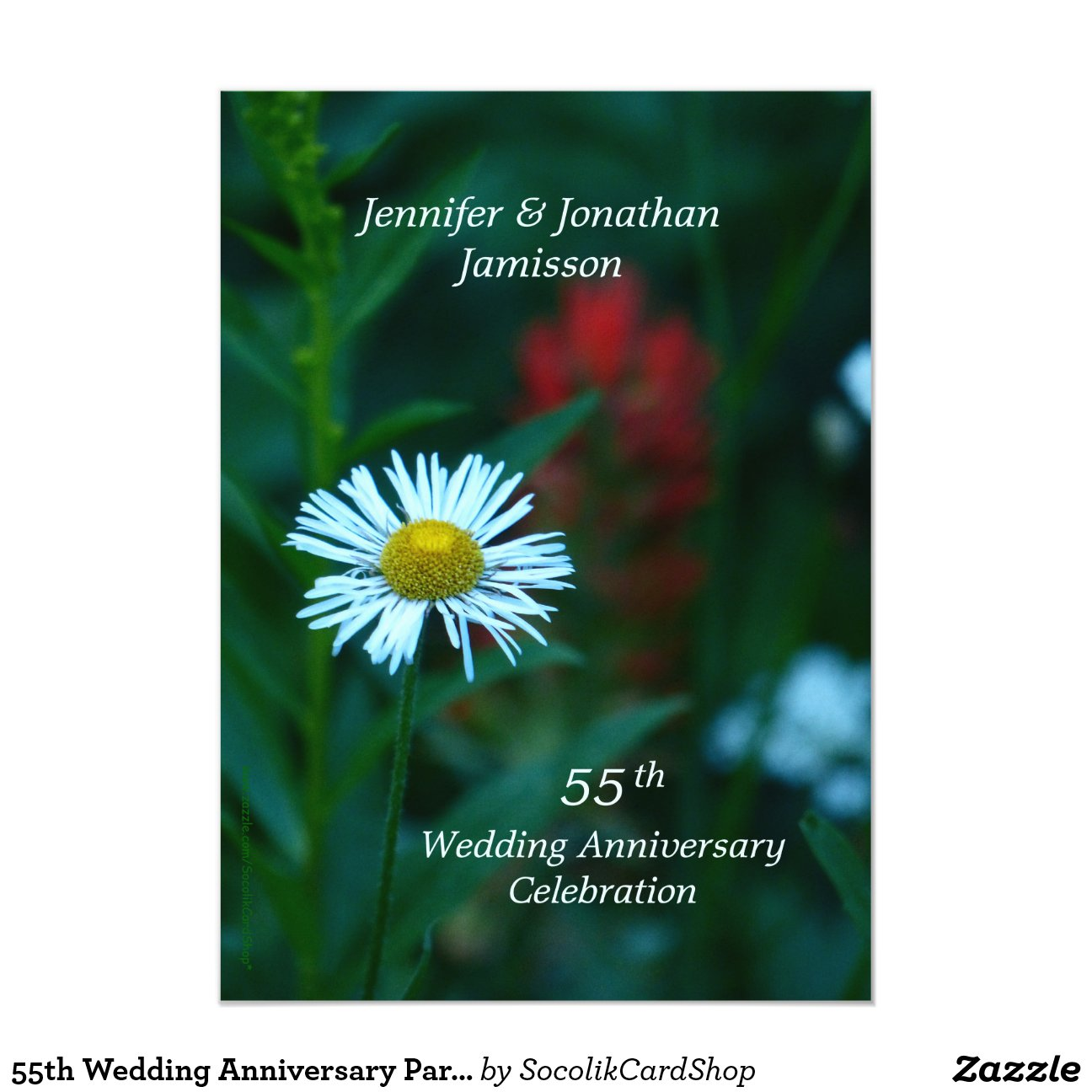 55th Wedding Anniversary Party Invite White Flower
