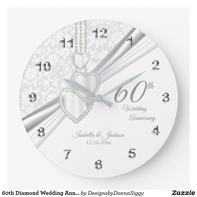 60th Diamond Wedding Anniversary Design on White Large Clock