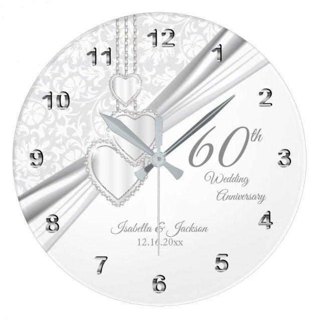 60th Diamond Wedding Anniversary Design on White Large Clock