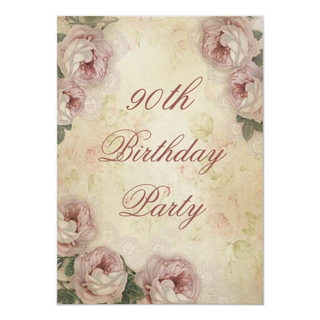 90th Birthday Shabby Chic Roses and Lace