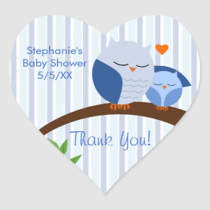 A Hoot Of A Baby Shower Blue Heart Sticker