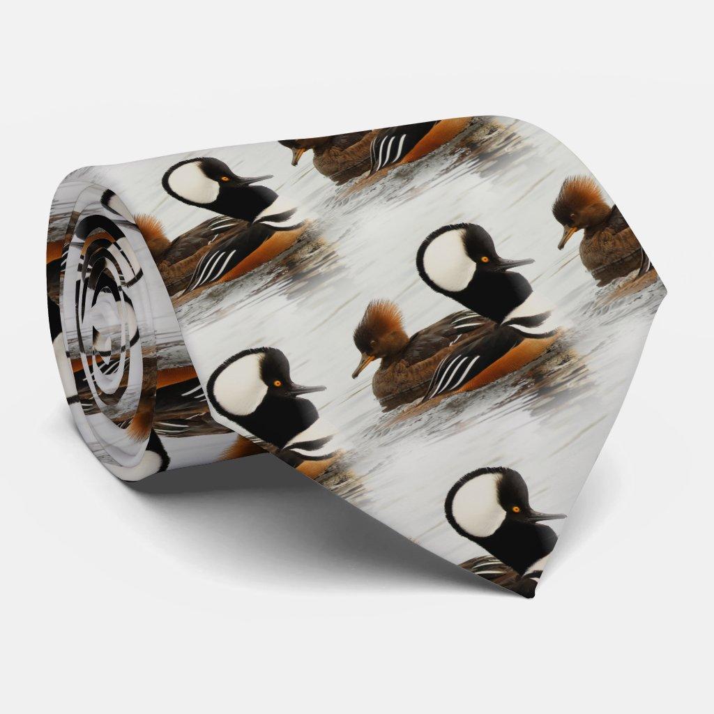 A Meeting of Hooded Mergansers Tie