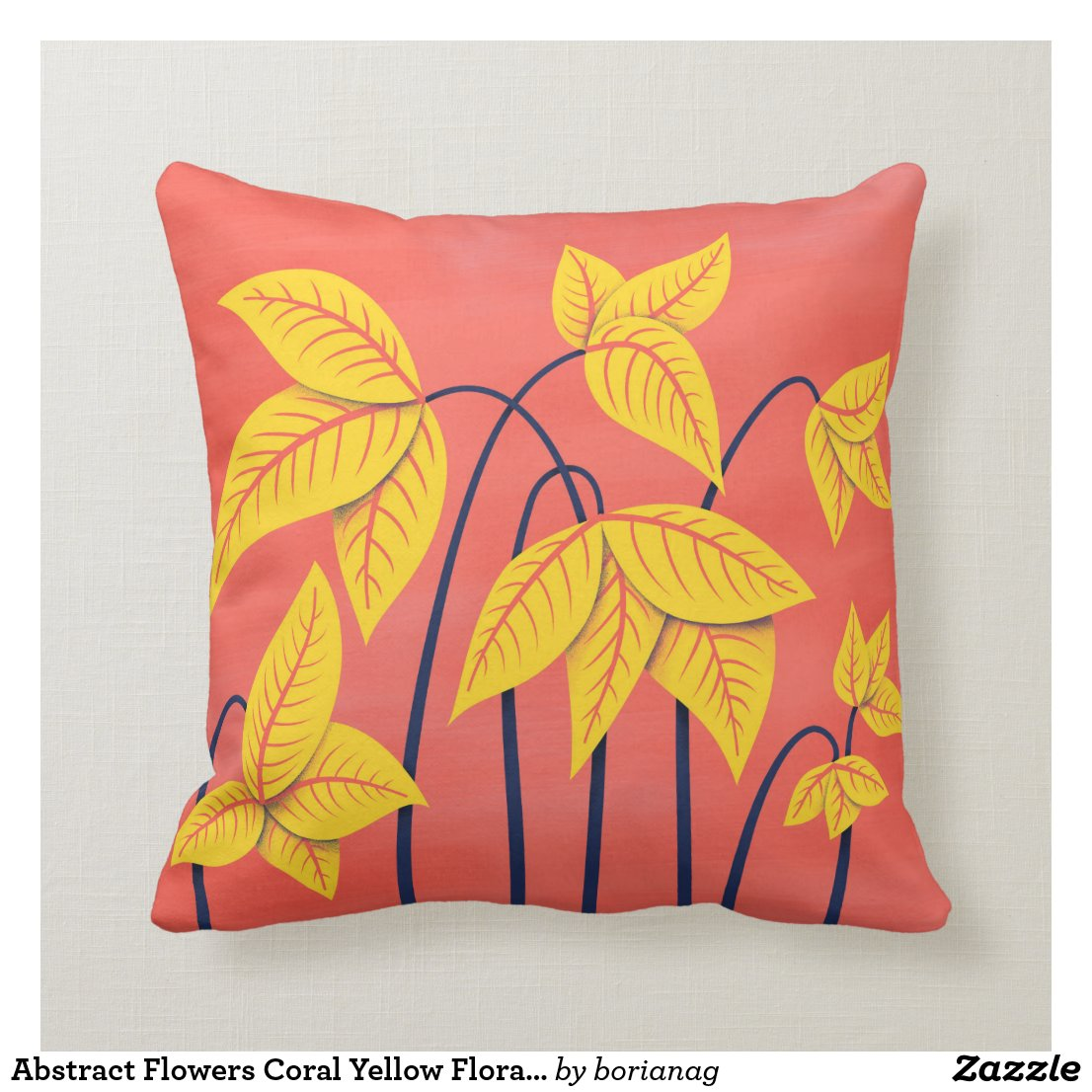 Abstract Flowers Coral Yellow Floral Geometric Art Cushion
