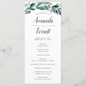 Abundant Foliage Wedding Ceremony Program Programme