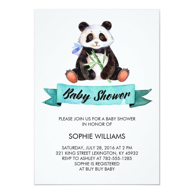 Adorable Watercolor Panda Baby Shower
