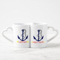 Anchor-Captain and First Mate Couples' Coffee Mug Set