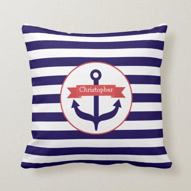 Anchor + Stripes Pillow