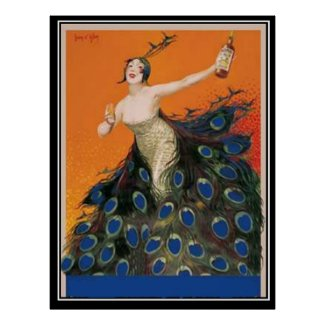 Art Deco peacock Girl Vintage Poster