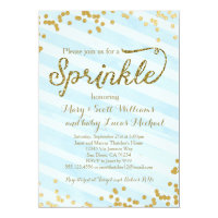 Baby Boy Sprinkle Shower Invitation blue gold