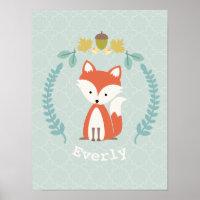 Baby Fox Wreath Personalized Nursery Artwork Poster