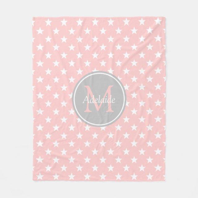 Baby Pink and Ash Grey Stars Monogram Fleece Blanket