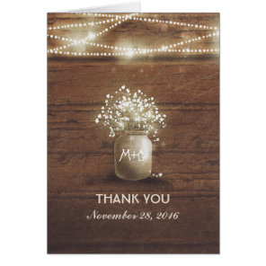 Baby's Breath Mason Jar Rustic Wedding Thank You