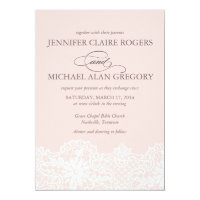 Ballet Pink Lace Wedding Invitation