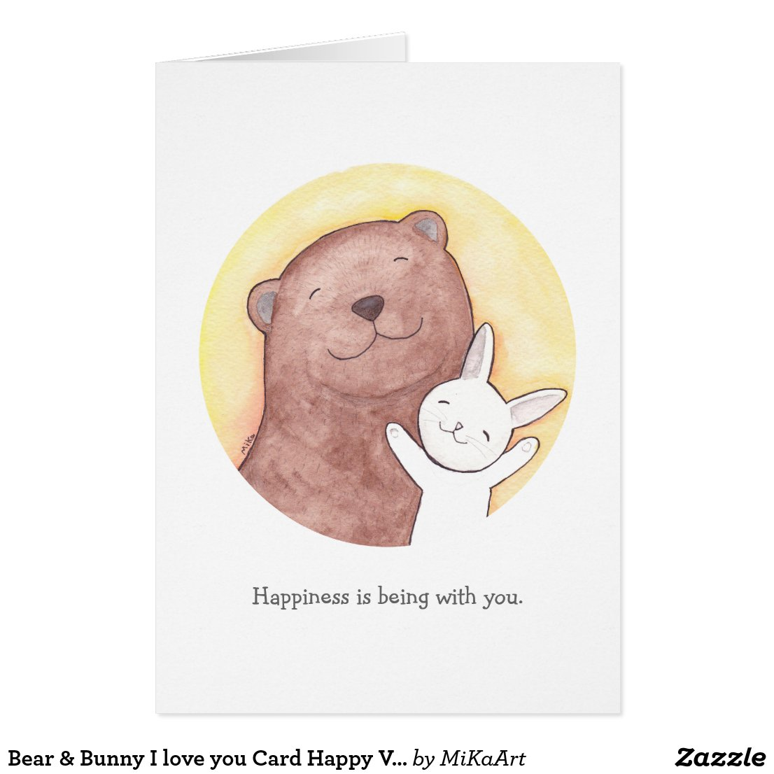 Bear & Bunny I love you Card Happy Valentine Card