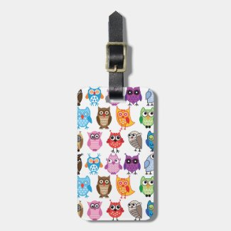 Beautiful Colourful Custom Owl Luggage Tag