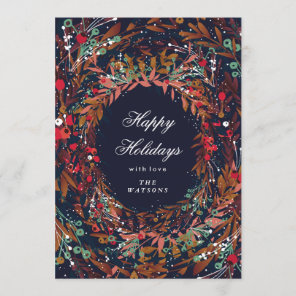 Beautiful Wreath Happy Holidays Floral Holiday Card