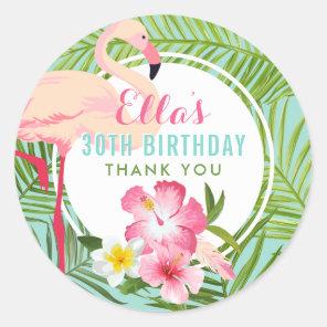 Birthday Party | Tropical Flamingo Thank You Classic Round Sticker