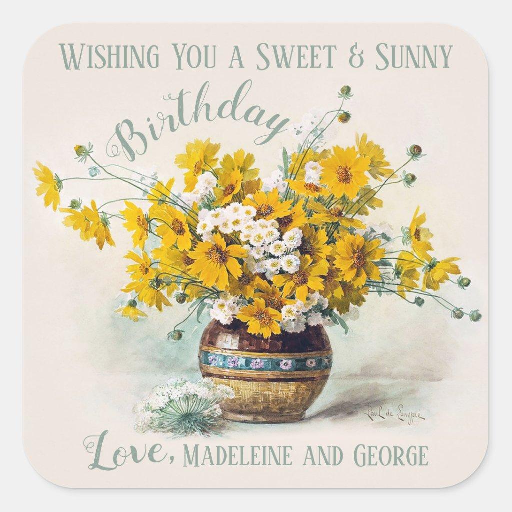 Birthday Sweet & Sunny De Longpré flowers CC1015 Square Sticker