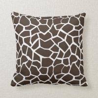 Bistre Brown Giraffe Animal Print Cushion