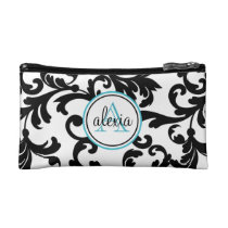 Black and Turquoise Monogrammed Damask Print Makeup Bags