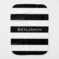 Black and White Striped Pattern Custom Name Baby Burp Cloth