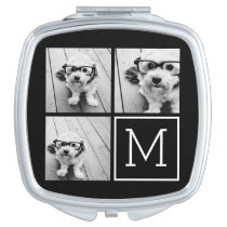 Black and White Trendy Photo Collage with Monogram Compact Mirrors