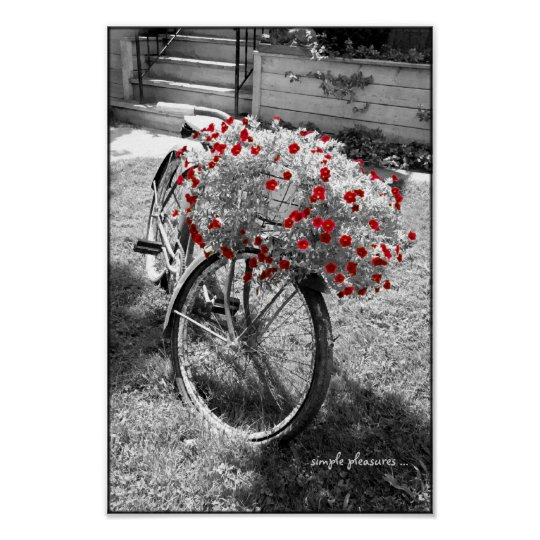 Black And White Vintage Bicycle Red Flowers Poster Zazzle Co Uk
