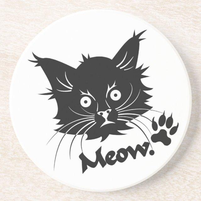 Black Cat custom coaster