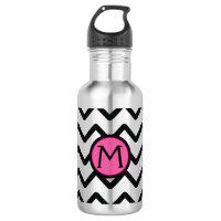 Chevron Monogram Water Bottle