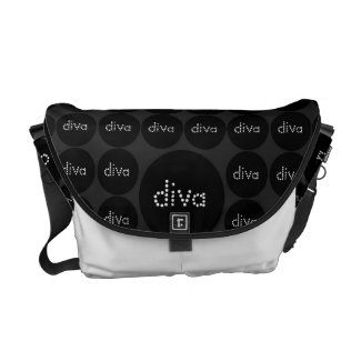 Black DIVA polka-dots Elegant Rickshaw Messenger