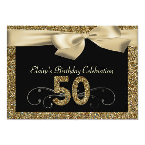 Black Gold Bow 50th Woman's Birthday Invitation