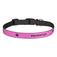 Black Paw Print with Pink Background Personalized Dog Collar