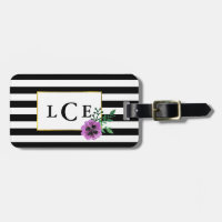 Black Stripe & Purple Pansy Monogram Luggage Tag