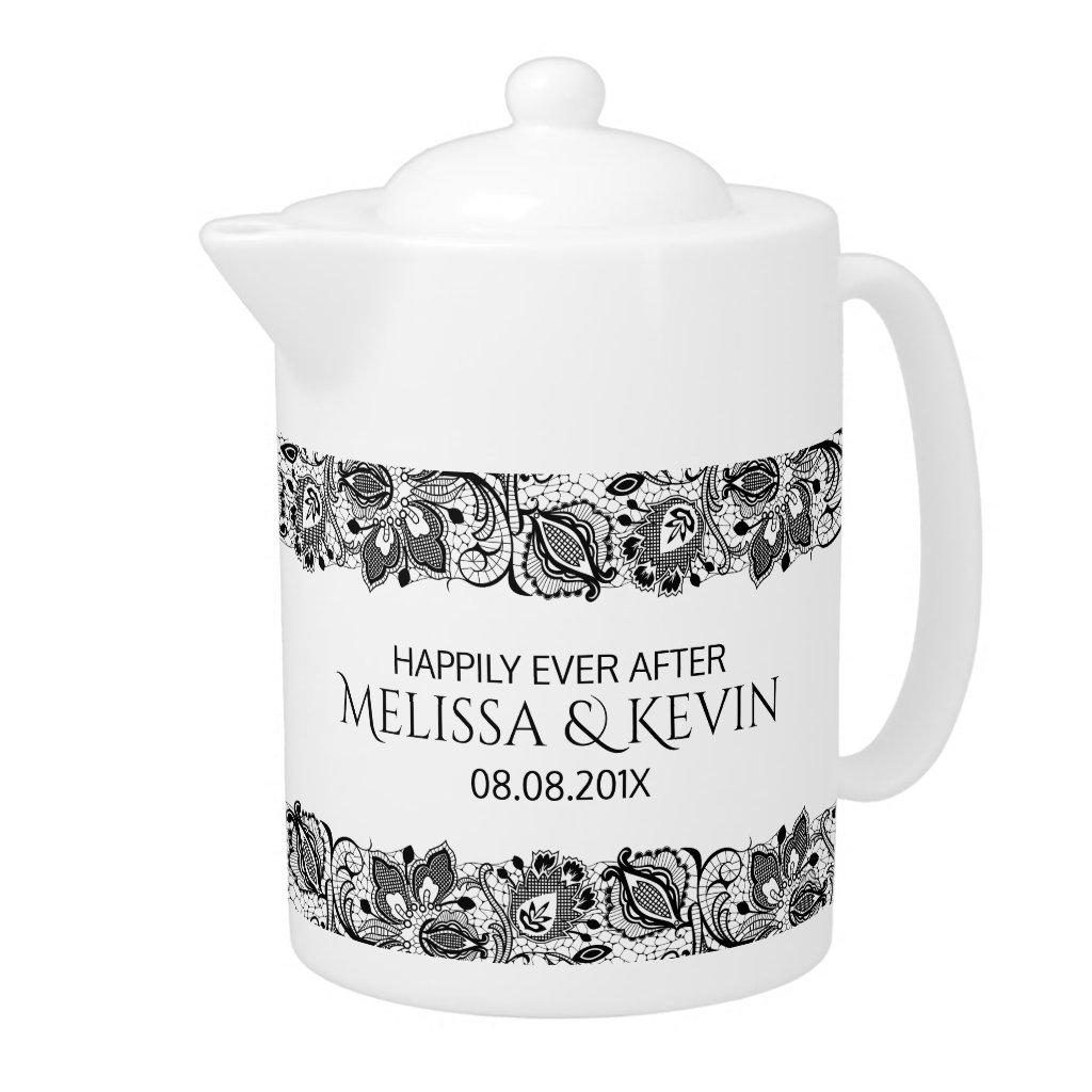 Black Vintage Lace Wedding Tea Pot