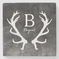 Deer Antlers Monogram Stone Coaster