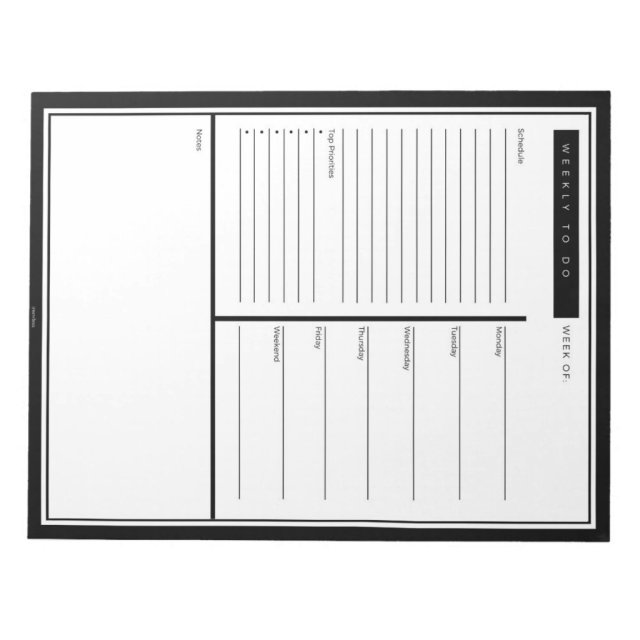 Black Weekly To Do List Notepad