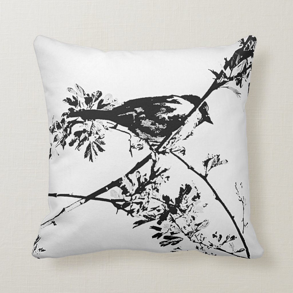 Black & White Bird Cushion