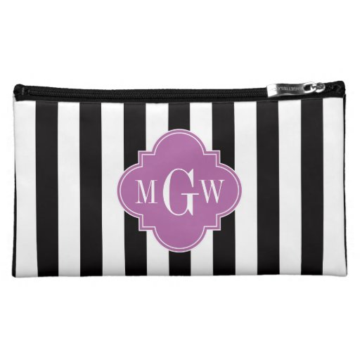 Black White Stripe Orchid Quatrefoil 3 Monogram Cosmetic Bag