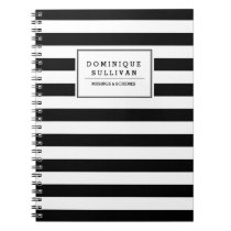 Black & White Stripes Personalized Notebook